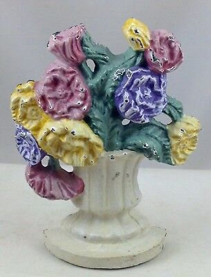 "Vintage Cast Iron Metal Door Stop  Flowers In Vase  5"" Tall"