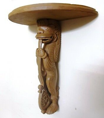 Yalli Wooden Display Stand Hand Carved Wall Telephone stand Interior Design New