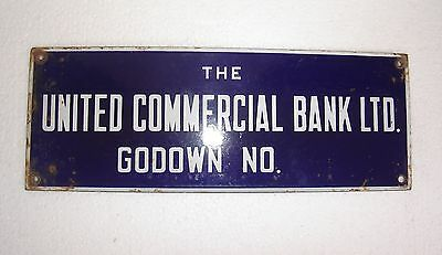 Antique Old Vintage Enamel Porcelain United Bank Adv Sign Board Very Rare