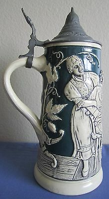 "9"" German Beer Stein with pewter lid - Bei Speil und Scherz - At Play and Joking"