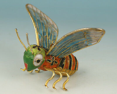 Chinese Old Cloisonne Collection Handmade Carved Bee Statue Figure