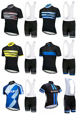 2018 Giant Cycling Team Kit Short Sleeve Bike Jersey Padded Bib Shorts Set
