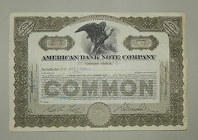 """""""American Bank Note Company"""" 10 Shares 1933 - common stock Aktie Wertpapier"""
