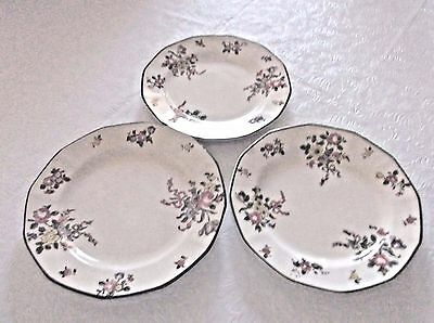 Old Leeds Spray Bread & Butter Plates -Royal Doulton D3548R - Set of 3