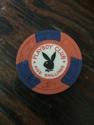 "5/- Shilling Casino Chip From: ""the Playboy Club"" London-Rare"