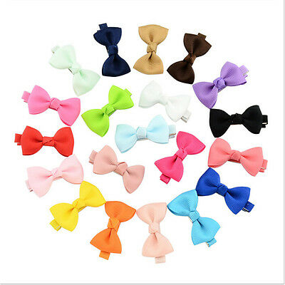 20x Hair Bows Band Boutique Alligator Clip Grosgrain Ribbon Girls Babys Kids