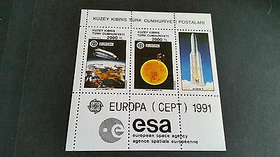 Turkish Cyprus 1991 Sg Ms306 Europa. Space Sheet. Mnh