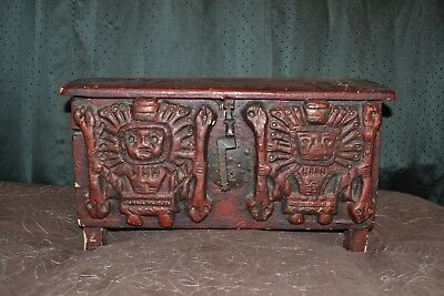 18Th Century Antique Trunk/petaca Carved & Applied Viracocha Figures. Chile