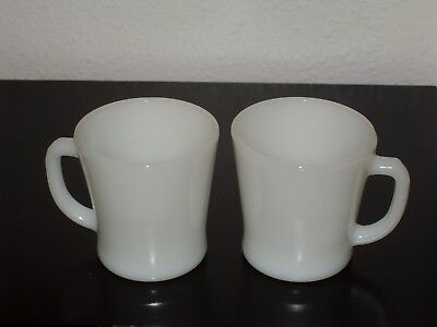 Pair of 2 Classic White Fire King Anchor Hocking Coffee Tea Mugs Cups
