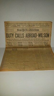 """1918  New York American Newspaper """" Duty Calls Abroad = Wilson 12 Pages"""