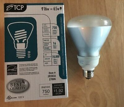 TCP 16W CFL Flood Light Bulb R30 Soft White 2700K Compact Fluorescent 2R3016