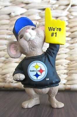 "Pittsburgh Steelers Hallmark 1996 NFL Collection ""We're #1"" Mouse Ornament"