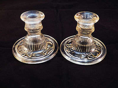 """Vintage Antique Pair Clear Pressed Glass Candle Sticks 3-3/8""""~ Nice!"""