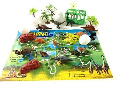 31Pc Jurassic Dinosaur Playset Toy Animals Action Figures Set T Rex Triceratops