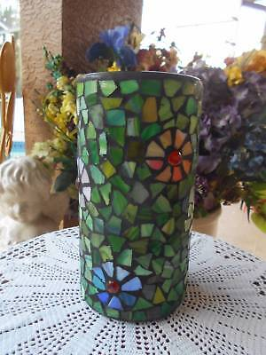"""handcrafted STAINED GLASS VASE kitchen UTENSIL HOLDER jeweled flowers 9 3/4"""" t"""