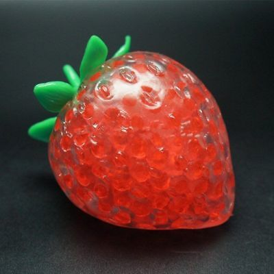Red Strawberry Squishy Anti Stress Ball Phone Strap Stretchy Squeeze Fun Kid Toy