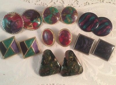 Vtg Lot Of Retro Mod 80's Enameled Marbled Colorful Pierced Earrings 7 Prs - #04