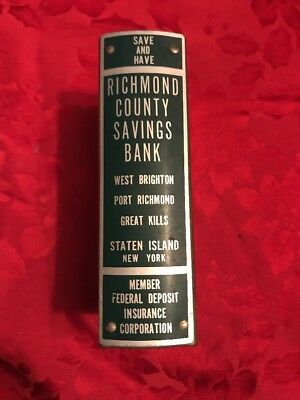 Rare Bank Richmond County Savings Staten Island New York No Key Vintage