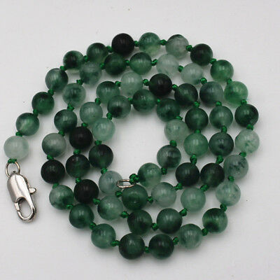"""New 6mm Natural Noble Two-color New Jade Gemstone Necklace 18""""AAA"""