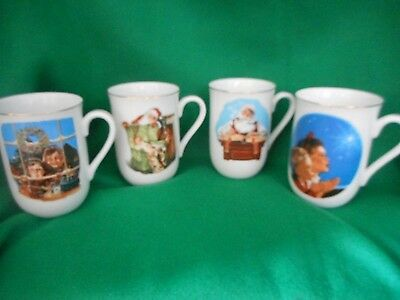 Set of 4 1987 Museum collection Mugs Norman Rockwell Inspired