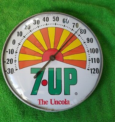 "1960's Vintage 12"" Round Glass 7Up Thermoneter 7 Up Soda Pop Sign The Uncola"