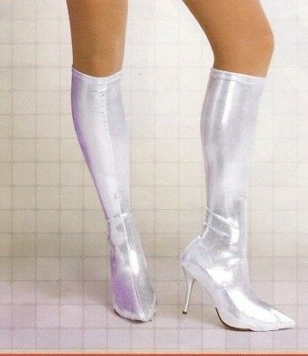 NEW Metallic Boot Cover Silver Foil Spats Dance Theatrical child/adult