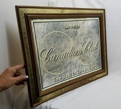 Rare Vintage Canadian Club Whiskey Bar Sign Man Cave Great Mirror 22""
