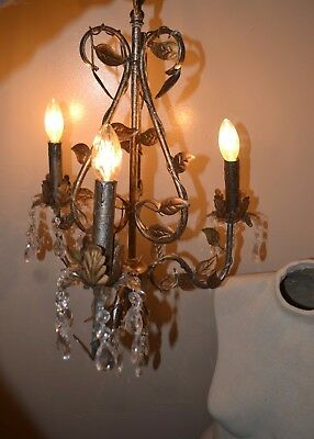 Vintage Italian Gold leaf Shabby Chic Bronzed Metal & Crystal Drop Chandelier