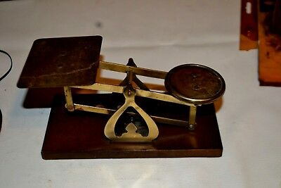 Antique Letter Weighing Rates Postal Scale Brass wood Base