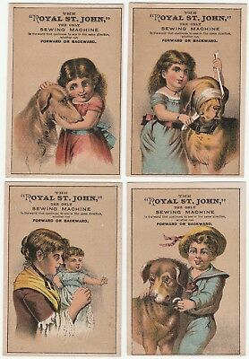 1880 Advertising Trade Card Series SET Royal St John Sewing Machine Children Dog
