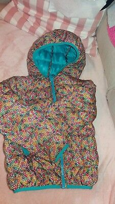 NEXT ditsy floral teal puffer jacket girls age 7
