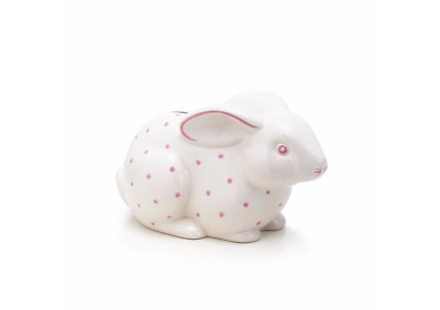 TIFFANY & CO. Porcelain BABY BUNNY BANK Pink Dots ITALY  EXCELLENT! No Box
