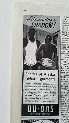 1942 Duofold Du-ons men's underwear Shades Alaska locker room vintage ad