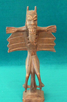 Unusual Vintage African Tribal Art Carved Wood Figure