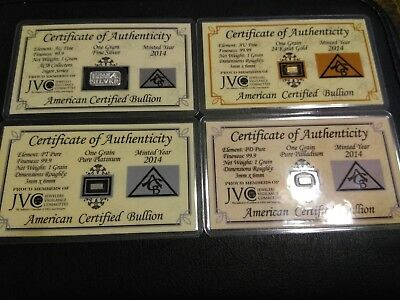 4 PACK ACB .999 Gold Silver Palladium Platinum 1 GRAIN/GRAM Bars