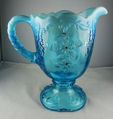 Northwood Glass Blue Opalescent Intaglio Footed Water Pitcher