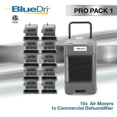 BlueDri Pro Pack 1 - 1 BD-130P Commercial Dehumidifier 10 One-29 Air Movers Grey
