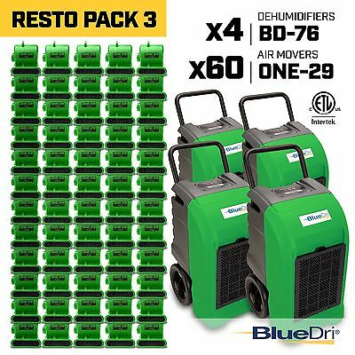BlueDri® Resto Pack 3 | 4 BD76 Commercial Dehumidifier 60 One-29 Air Mover Green