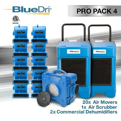 BlueDri Pro Pack 4 - 2 BD-130P Dehumidifier 20 One-29 Air Mover 1 Scrubber Blue
