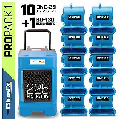 BlueDri Pro Pack 1 - 1 BD-130P Commercial Dehumidifier 10 One-29 Air Movers Blue