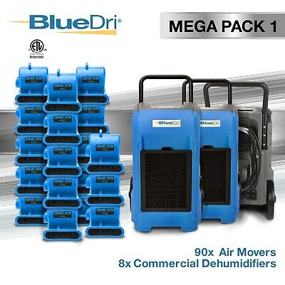 BlueDri® Mega Pack 1 | 8 BD76 Commercial Dehumidifiers 90 One-29 Air Movers Blue