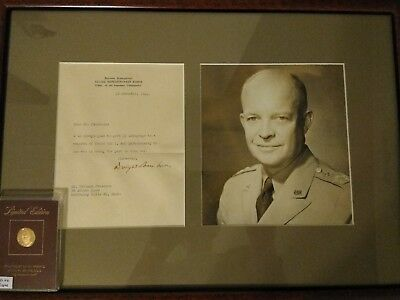 Dwight D. Eisenhower Autographed Letter & 1/10 oz 12kt gold round 3.1 gram coin