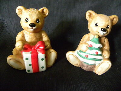 Vintage Homco Porcelain Christmas Bear Set #5505 From Home Interiors