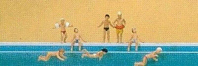 8 People figures Children at the Pool by Preiser N Scale #79091