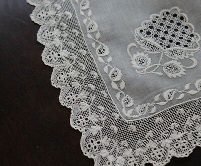 Vtg Antique Rare Dresden Whitework Lace Early 19th Century Shawl Pelerine