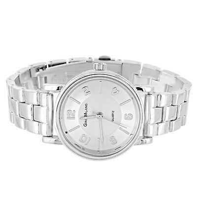 Ladies Silver Tone Wrist Watch Round Face Adjustable Links Stainless Steel Back