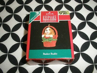 "Vintage 1990~Christmas! Miniature Hallmark Ornament ""basket Buddy"" Nib N5"