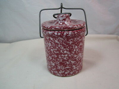 """Vintage Small Red Spongeware Crock With Clamp On Lid 5 1/2"""" Tall"""