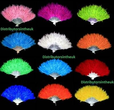 FEATHER HAND FANS Hand Held Black White Red Royal Blue Fuchsia Pink Quality Fans