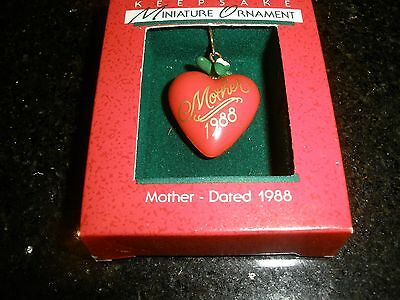 "1988 Vintage Miniature Hallmark Christmas Ornament, ""mother"" ~T8796"